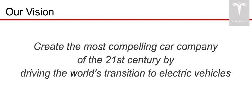 Screenshot of Tesla Vision Statement