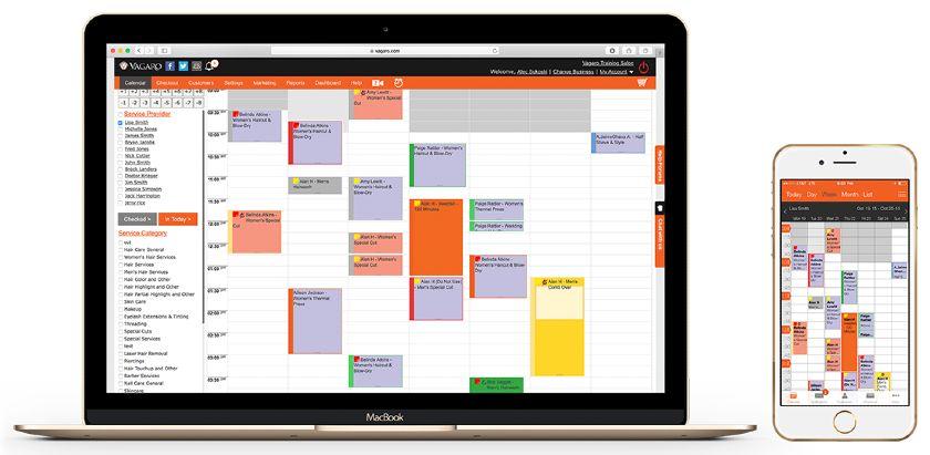 Screenshot of Vagaro Calendar on Laptop and Mobile