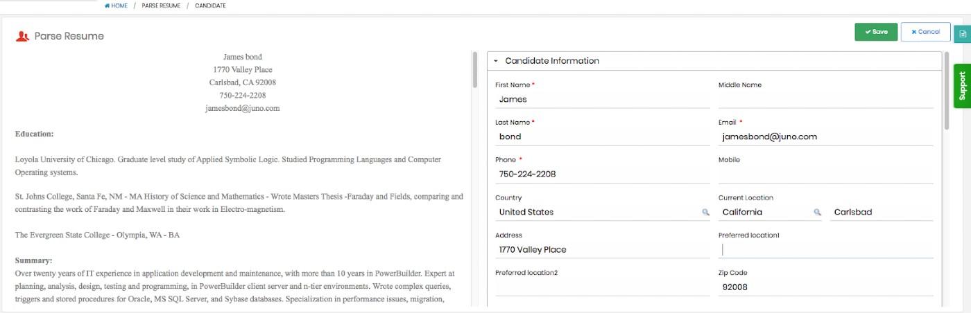 Screenshot of Vultus Resume Parsing Tool