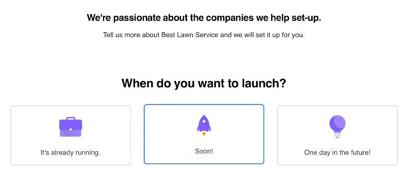 Screenshot of When Do You Want to Launch Business