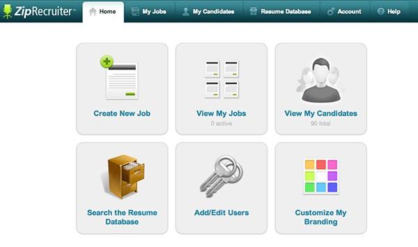 Screenshot of ZipRecruiter's Dashboard