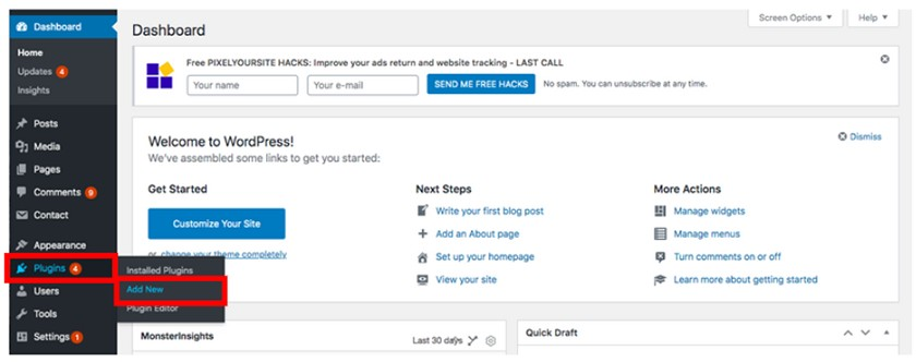 Screenshot of adding new plugin in WordPress