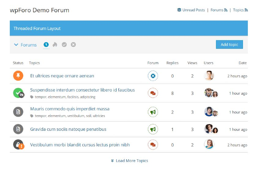 Screenshot of wpForo Threaded Forum Layout Demo