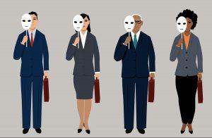 job candidates hiding behind mask