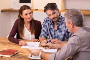man and woman consulting about business
