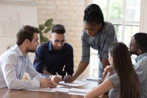 woman teaching new employees