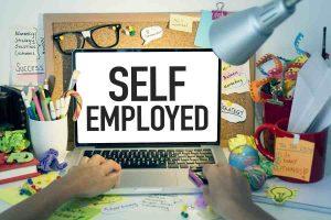 Self employed written on laptop
