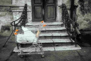 Discarded shopping cart