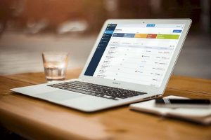 laptop with quickbooks on screen