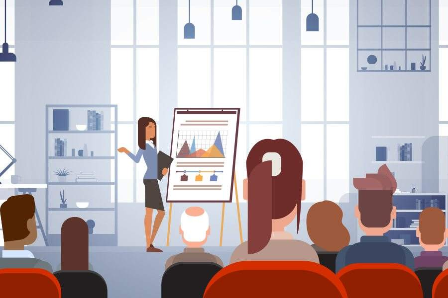 vector image of woman presenting on in front of people
