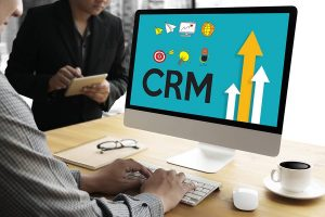 CRM graphic concept on Mac screen