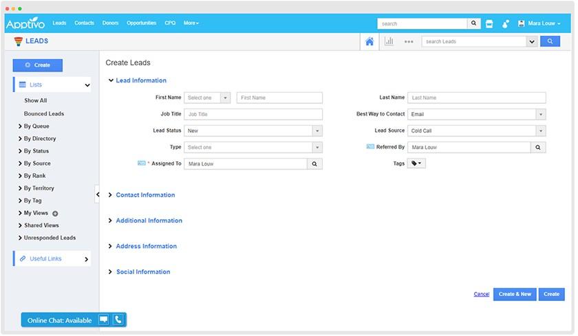 Apptivo contact information card sample