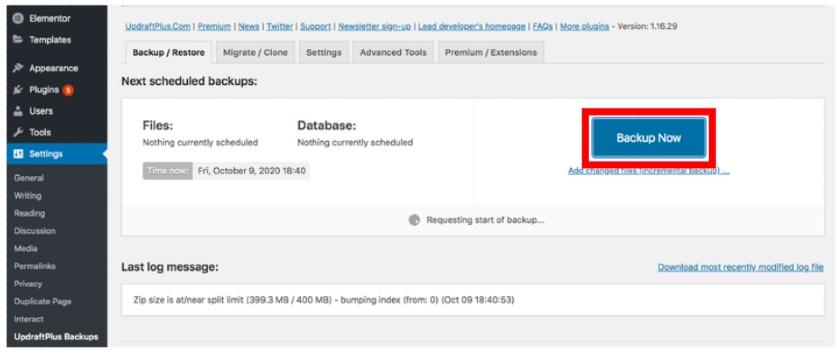 WordPress Backup Settings using UpdraftPlus