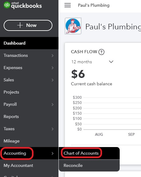 Navigate to Chart of Accounts in QuickBooks Online