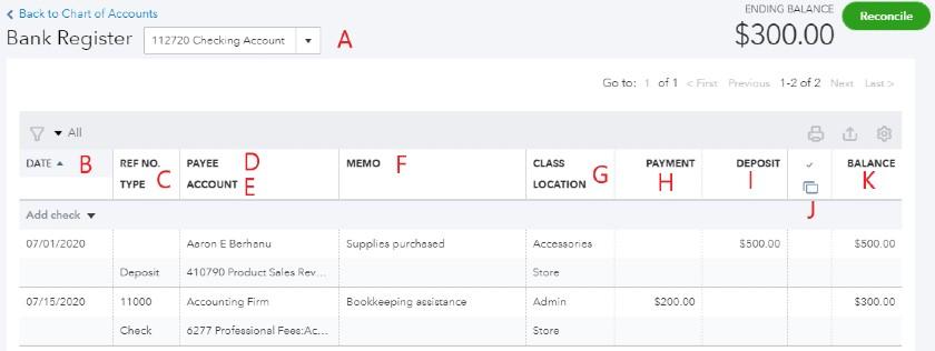 Check register in QuickBooks Online