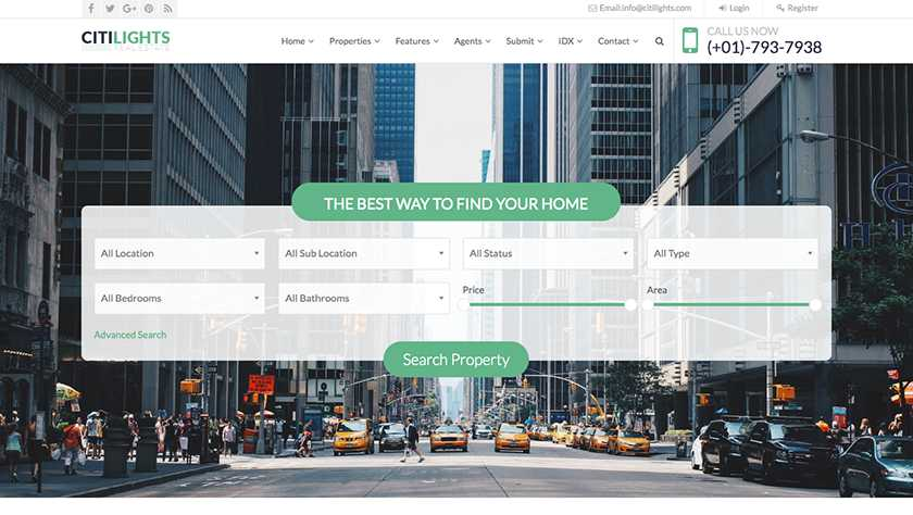 CitiLights Real Estate Website Template Sample