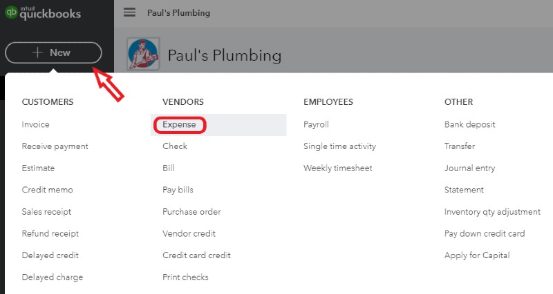 Create new expense in QuickBooks Online