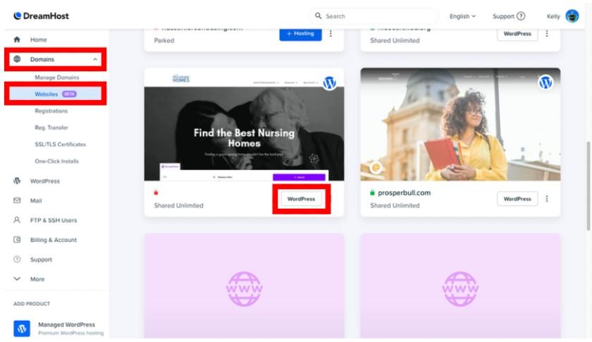 Dreamhost Hosted Websites Dashboard