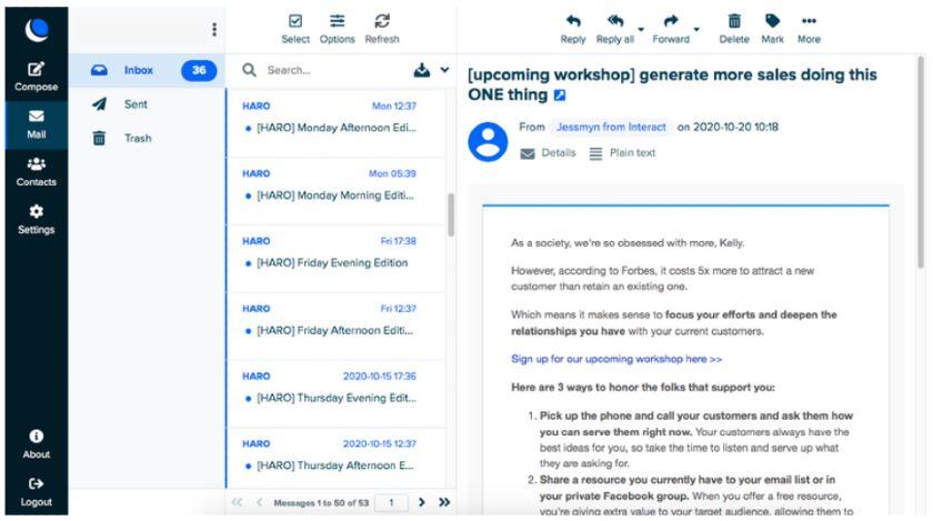 DreamHost inbox interface