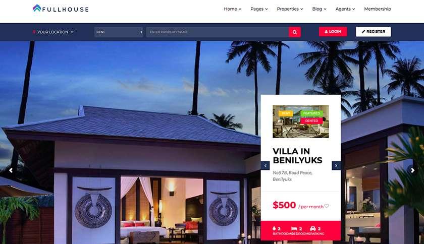 Full House Real Estate Website Theme Sample