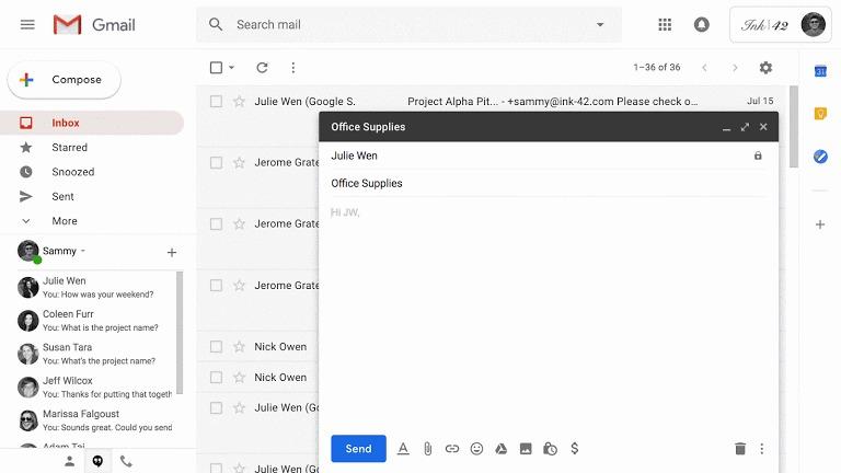 Google Workspace Composing Message