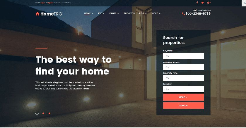 HomePro Real Estate Website Template Sample