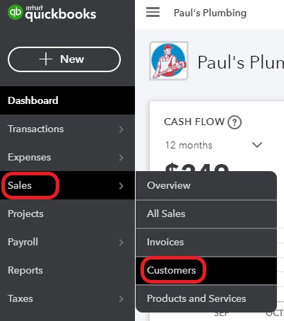 Navigate to customers in QuickBooks Online
