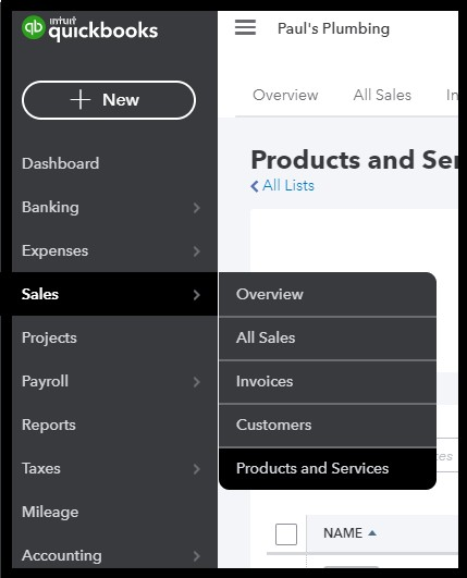 Navigate to products and services in QuickBooks Online