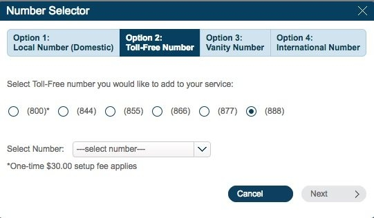 Number Selector Option 2 - Toll-Free number