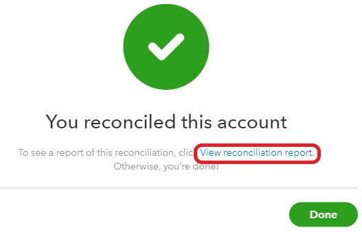 QuickBooks bank reconciliation confirmation message