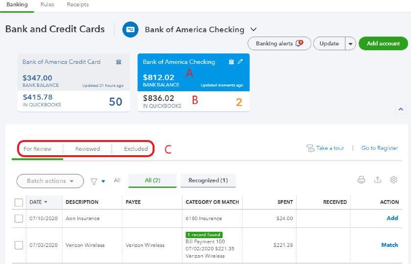 QuickBooks Online Banking Center