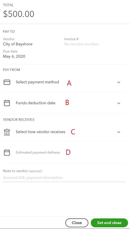 QuickBooks Online bill payment details