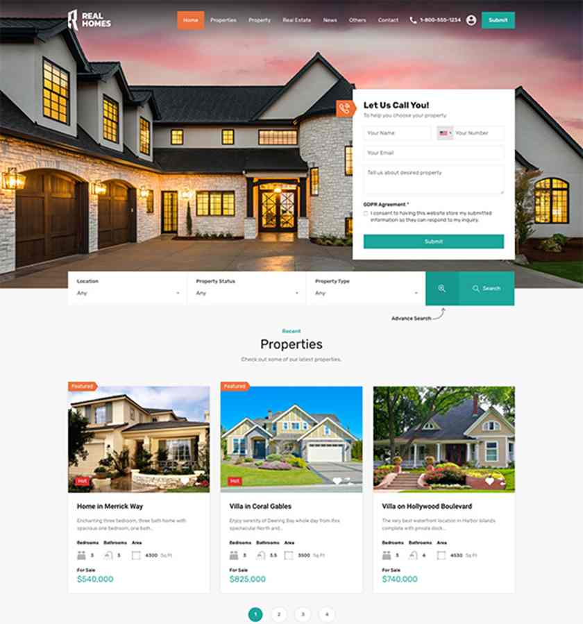 Sample of Real Homes Real Estate Website Template