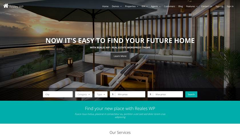 Reales WP Real Estate Theme Sample