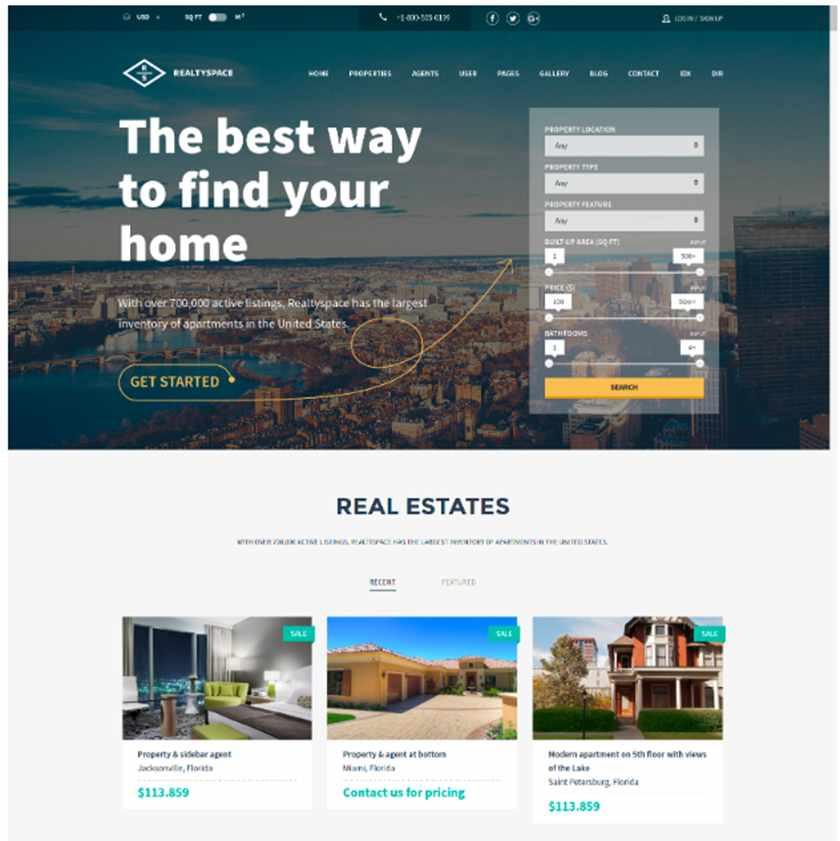 Realtyspace Real Estate Website Template Sample