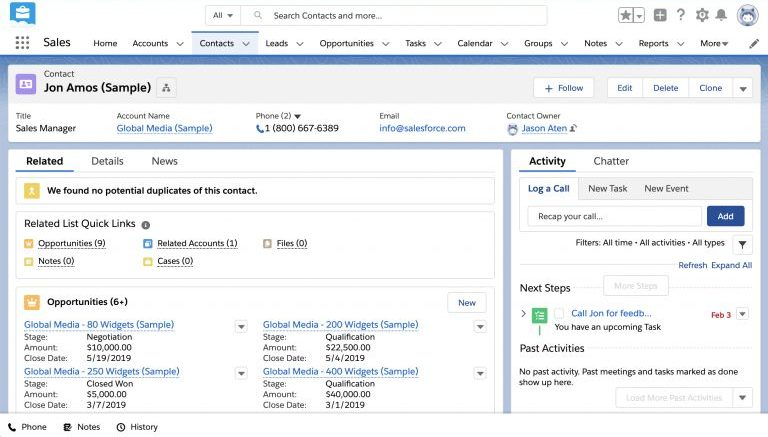 Salesforce Contact Interface