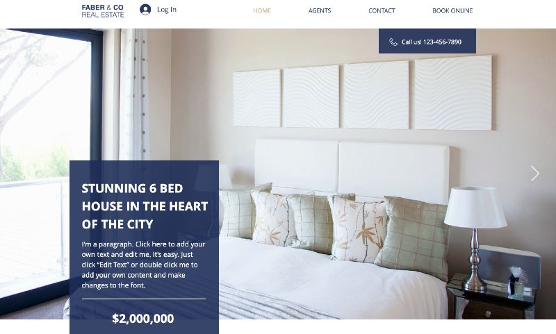 Sample single property template in Wix
