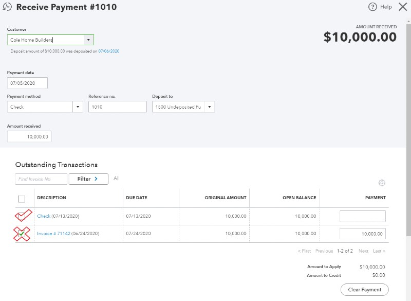 Unapply payment received to invoic