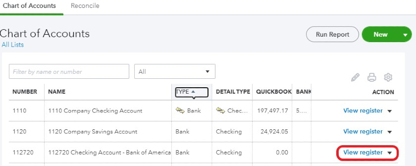 View checking account register in QuickBooks Online