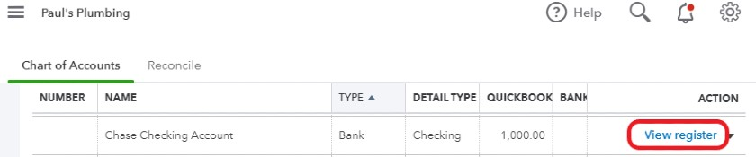 View the check register in QuickBooks Online