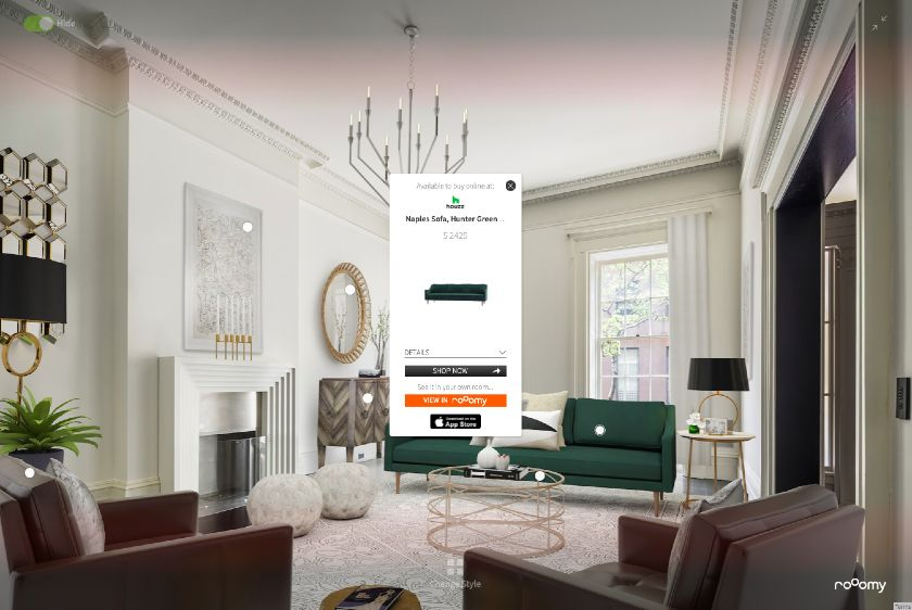 Virtually Staged, Shoppable Room by roOom