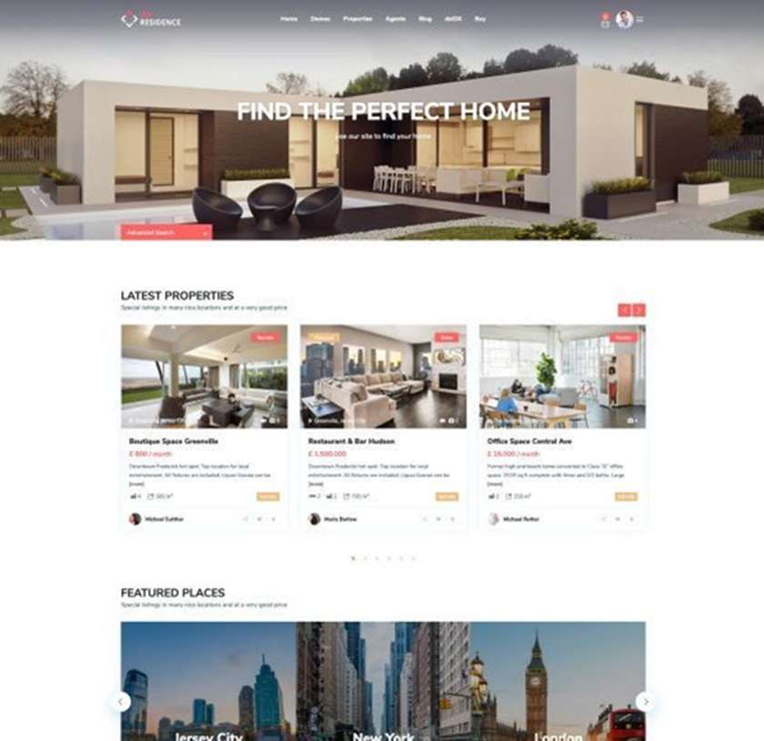 WP Residence Real Estate Website Template Sample