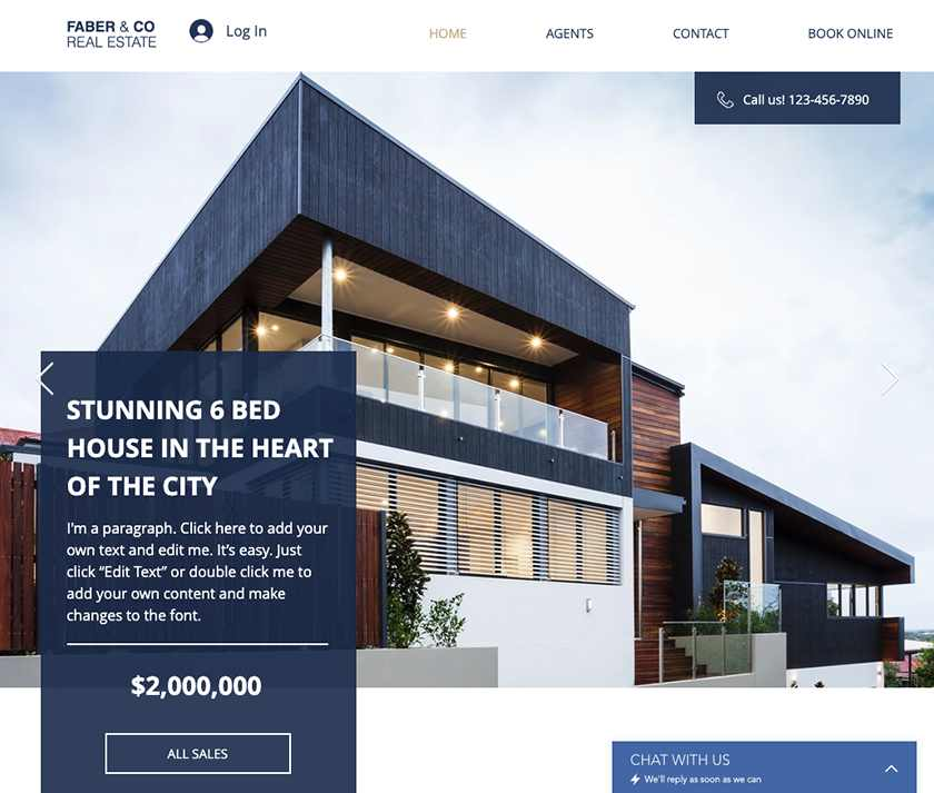 Wix Real Estate Company Template Sample