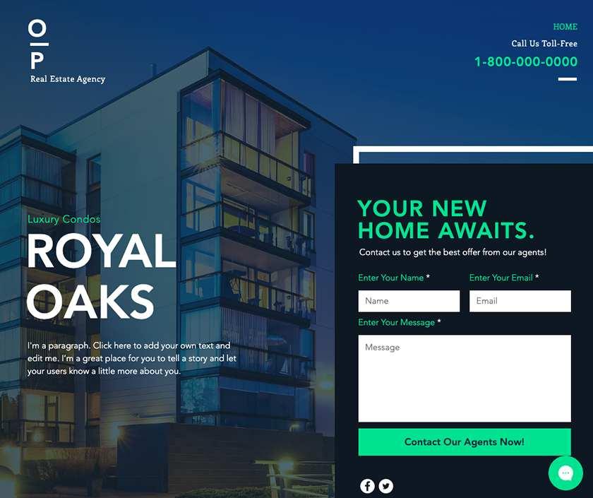 Wix Real Estate Landing Page sample