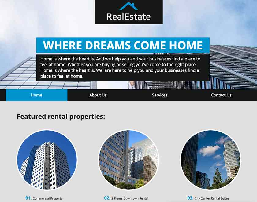 Wix Real estate template Sample