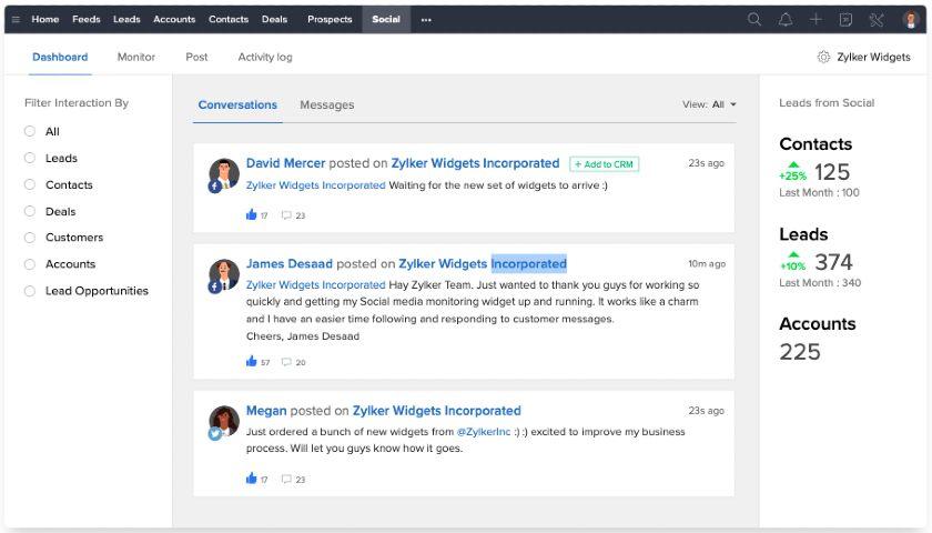 Zoho CRM social media Conversations dashboard