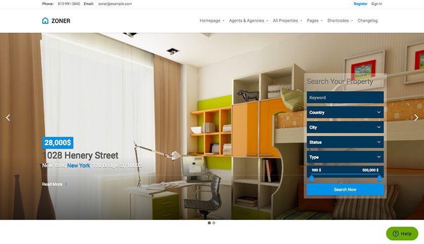 Zoner Real Estate Website Template Sample