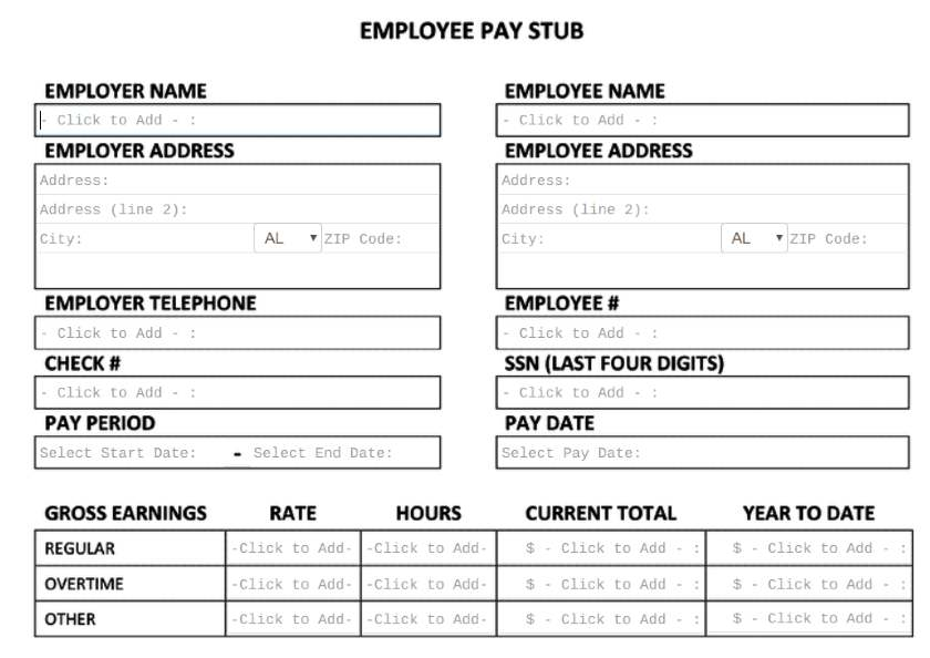 Screenshot of Employee Pay Stub on FormSwift