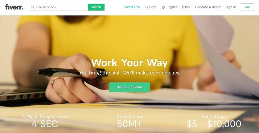 Screenshot of Fiverr Interface