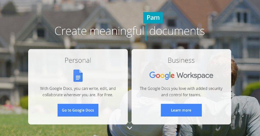 Screenshot of Google Docs Personal and Business